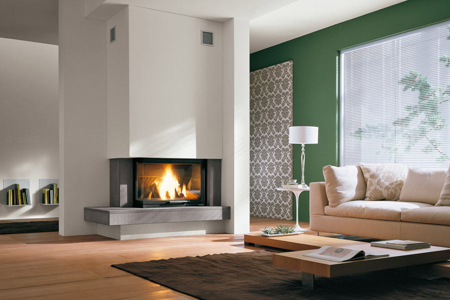 Fireplaces on pinterest corner fireplaces wood stoves for Camini palazzetti